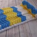 Chevron baby blanket | unisex | white, yellow, azure blue | gift | baby shower