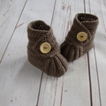 Crochet baby booties, stay on newborn boots, pregnancy announcement, gift, brown