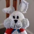 Buddy -Hand crocheted bunny rabbit;  safe, OOOK, present, baby shower
