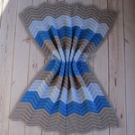 Chevron baby blanket | boy | grey, azure blue, sky blue | gift | baby shower