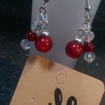 Red and crystal beaded bundle fun earrings.