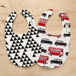 Set of 2 Bibs - London Bus - Triangles - Geometric - British - Baby Boy - Retro