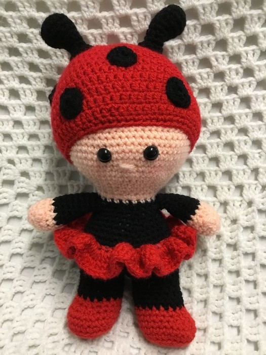 Lady Bug Ready To Post Crochet Doll Amigurumi Girl Gift My