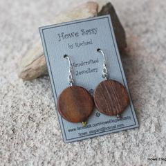 Wooden Coins, Swarovski crystal, Sterling Silver, dangle earring