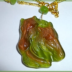 Horses. Green Cat Eye Gemstone Carved Horse Pendant
