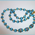 Blue opal and lamp work bead necklace.