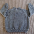 SIZE 4 yrs - Hand knitted jumper in grey: washable, OOAK