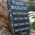 Tool Rules Man Cave or Garage Reclaimed Timber Sign