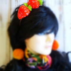 Strawberry Pom Pom Headband, Girls Party Accessories, Hair Accessories