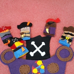 Pirates and pirate ship finger puppets