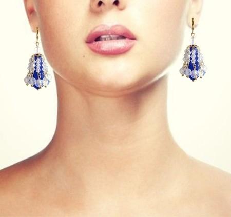 Sapphire teardrop and crystal chandelier earrings