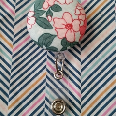 Button ID Badge Reel - Floral #3