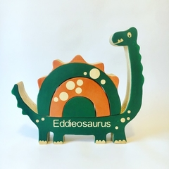 Wooden personalised Dinosaur Stacker.