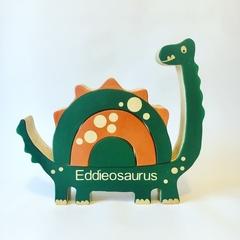 Wooden personalised Dinosaur Stacker.