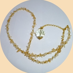 Light citrine faceted glass ball and citrine chips with gold balls
