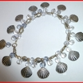 Shell, fish, glass bracelet