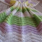Chevron baby blanket | unisex | white, mauve, lemon, green | gift | baby shower