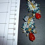 Orange topaz with teal blue and ab clear crystals.Earrings