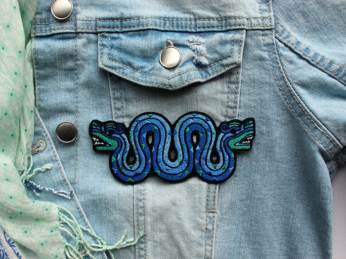 New Double-headed Serpents Embroidery Badges Iron on Patches for Clothing Jean