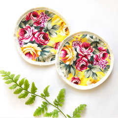 Two eco friendly reusable face wipes / make up wipes - yellow floral