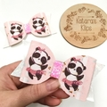 Pink Panda Dancer large Bow Clip, Birthday Bow