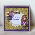 With Love Birthday Friendship Floral Olive & Purple Theme Greeting Car
