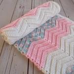 Chevron crochet baby blanket | cream, pink, multicolour | gift | baby shower