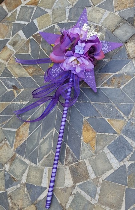 Flower Girl Floral Wand - Purple Star Wand with Butterflies for Flower-girl