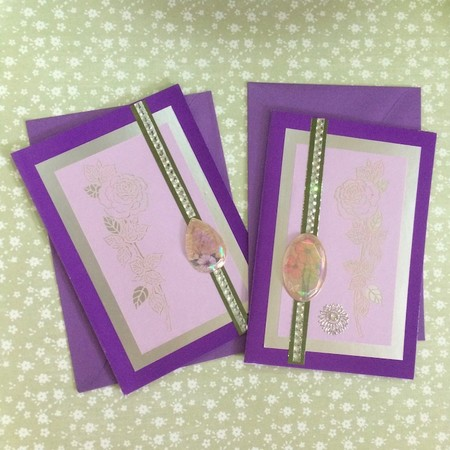 Pack of Two Purple Cards and Laser Cut Rose with Flowers and Faux Crystals