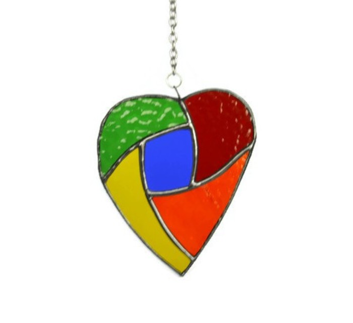 384c74172431 Quirky Rainbow Heart Stained Glass Suncatcher