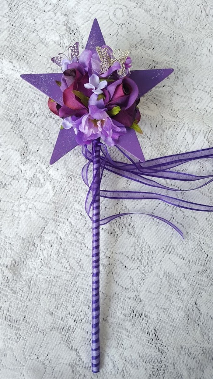 Flower Girl Floral Wand Purple Star Wand With Butterflies For