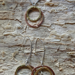Set of two Tone Hoop necklace, with Copper and bronze handmade hoop earrings on