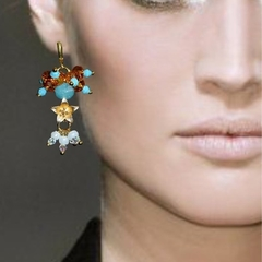 Chalcedony, cubic zirconia and mother of pearl earrings