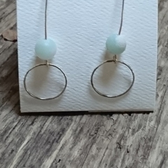 Recycled beautiful sterling silver drop earrings featuring semi precious stones