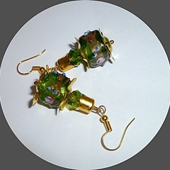 Green lamp work glass earrings