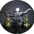 Green lamp work glass earrings