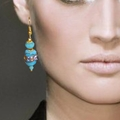 Blue wedding cake earrings
