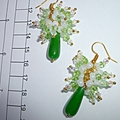 Crysoprase, glass crystals and shell beads earrings
