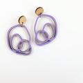 Lavender Abstract Scribble Stud Dangle Statement Earrings - Lasercut Wood