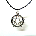 TWO Antique Silver Pentagram Chokers