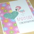 Baby Girl card - flamingo