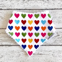 Love Heart Multicolour Cotton Bandana/Dribble Bib - Baby Girl