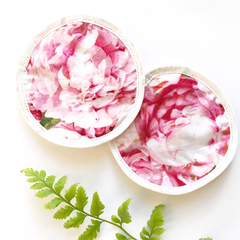 Two eco friendly reusable face wipes / makeup wipes - pink peony