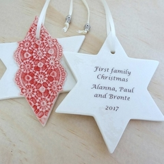Personalised star ornament. Christmas decoration. Personalised decoration.