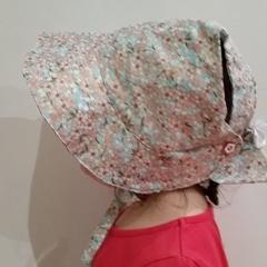 Adjustable Baby Sun Bonnet - Japanese style sakura / cherry blossoms