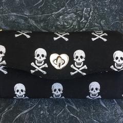 Silver Skull Clutch Wallet