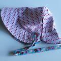 Adjustable & Reversible Sun Bonnet - Strawberries & Lovehearts