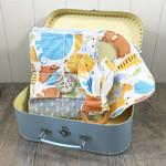 Jungle Animal Baby Boy Gift Set - Stroller/Pram Blanket, Bib & Teether