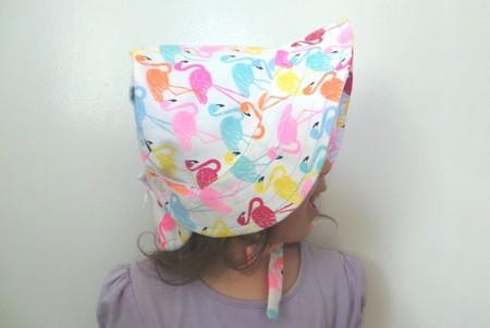 Adjustable Baby Sun Bonnet - Colourful Flamingoes