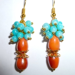 Turquoise blue and coral/orange earrings